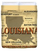 Louisiana State Pride Map Silhouette  Duvet Cover
