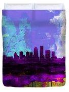 Louisville Watercolor Skyline Duvet Cover