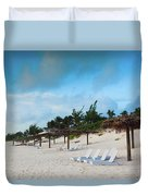 Lounge Chairs And Parasol On Pink Sands Duvet Cover
