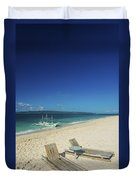 Lounge Chairs And Traditional Boat On Puka Beach In Boracay Phil Duvet Cover