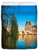Louvre Museum And Pont Royal - Paris - France Duvet Cover