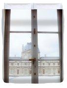 Louvre Museum Viewed Through A Window Duvet Cover