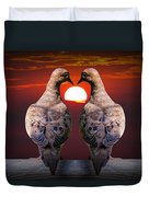 Love Dove Birds At Sunset Duvet Cover