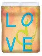 Love In Bright Blue Duvet Cover