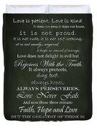 Love Is Patient Green Duvet Cover