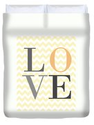 Love On Chevron Peach Duvet Cover