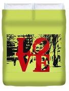 Love - Red On Lime Duvet Cover