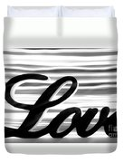 Love Sign With Black And White Stripes Duvet Cover