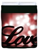 Love Sign With Red Sparkle Duvet Cover