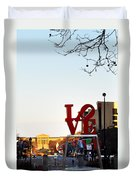 Love Statue And The Art Museum Duvet Cover