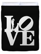 Love Typography And Kissing Couple Duvet Cover