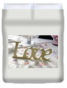 Love Word At A Wedding Duvet Cover