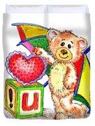 Love You Teddy Bear Duvet Cover
