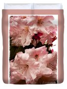 Lovely Pink Rhododendrons With Border Duvet Cover