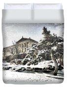 Lovely Snow On The Museum Duvet Cover