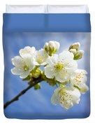 Lovely White Apple Blossoms On Branch Duvet Cover