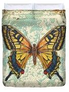 Lovely Yellow Butterfly On Tin Tile Duvet Cover