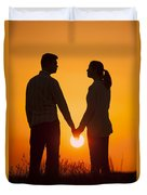 Lovers Holding Hands At Sunset In Silhouette Duvet Cover