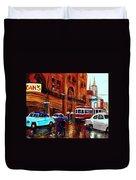 Lovers In The Rain Stroll St Catherine Street Near Morgans Department Store Vintage City Scene Art Duvet Cover