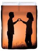Lovers Making A Heart Shape At Sunset Duvet Cover
