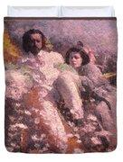 Lovers On The Beach Duvet Cover
