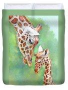 Loving Mother Giraffe2 Duvet Cover