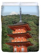 Low Angle View Of A Small Pagoda Duvet Cover