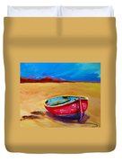 Low Tides - Landscape Of A Red Boat On The Beach Duvet Cover by Patricia Awapara