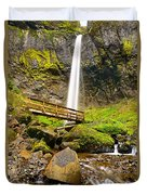 Lower Angle Of Elowah Falls In The Columbia River Gorge Of Oregon Duvet Cover