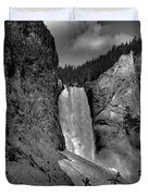 Lower Falls In Yellowstone In Black And White Duvet Cover