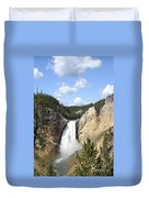 Lower Falls In Yellowstone National Park Duvet Cover