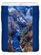 Lower Falls Into Yellowstone River Duvet Cover