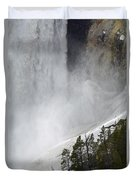 Lower Falls Of The Yellowstone Close-up In Spring Duvet Cover