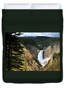 Lower Falls On The Yellowstone River Duvet Cover