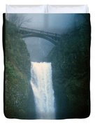 Lower Multnomah Falls Through The Mist Duvet Cover