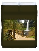 Lower South Waterfall With Footbridge In Oregon Columbia River Gorge. Duvet Cover