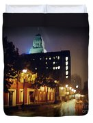 Lower Water Street In The Fog Halifax Nova Scotia Duvet Cover