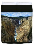 Lower Yellowstone Falls Panorama 2 Duvet Cover