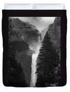 Lower Yosemite Falls Bw Duvet Cover