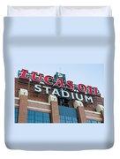 Lucas Oil Stadium Sign Duvet Cover by James Drake