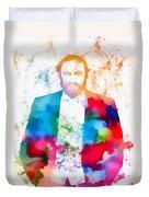 Luciano Pavarotti Paint Splatter Duvet Cover