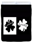 Lucky Four Leaf Clover Digital Painting Duvet Cover