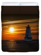 Ludington Pier Lighthead At Sunset Duvet Cover