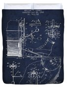 Ludwig Foot Pedal Patent Drawing From 1909 - Navy Blue Duvet Cover