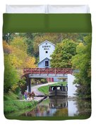 Ludwig Mill And Canal Boat  1480 Duvet Cover