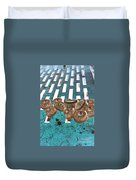 Lug Nuts On Grate Vertical Turquoise Copper Duvet Cover