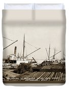 Lumber Steamers Unloading At Redwood Mfg. Co.s Wharf Pittsburg Circa 1920 Duvet Cover
