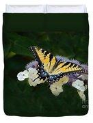 Luminous Butterfly On Lacecap Hydrangea Duvet Cover