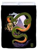 Lunar Chinese Dragon On Black Duvet Cover