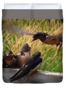 Lunch Is Served To The Fourth Baby Barn Swallow Duvet Cover